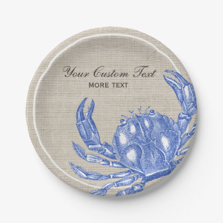 Cool Vintage Nautical Blue Crab Custom Beach Paper Plate