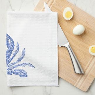 Cool Vintage Nautical Blue Crab Custom Beach Tea Towel