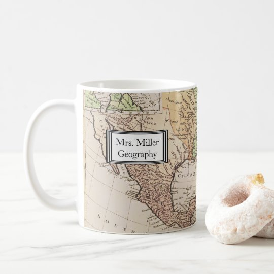 Cool Vintage New World Map Geography Teacher Coffee
