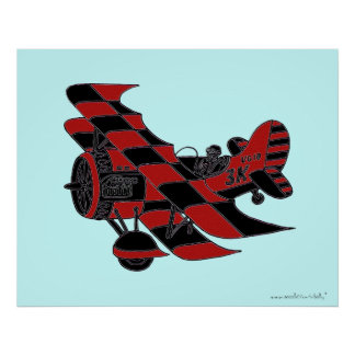 Cool vintage plane graphic art poster