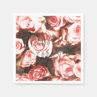 "Cool vintage roses ""Enjoy Today"" Paper Napkin"