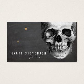 Cool Vintage Skull Etching Black Business Card