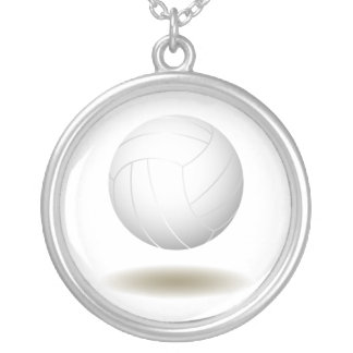Cool Volleyball  Emblem 1 Round Pendant Necklace