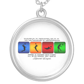 Cool Volleyball It Is A Way Of Life Silver Plated Necklace