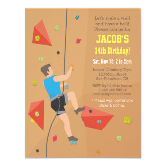 Cool Wall Rock Climbing Birthday Party Invitations