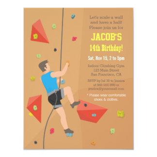 Cool Wall Rock Climbing Birthday Party Invitations