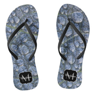 Cool water drops dew texture leaf Monogram Flip Flops
