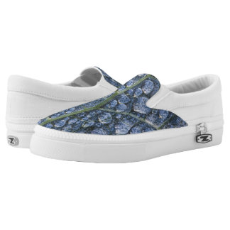 Cool water drops dew texture leaf Slip-On shoes