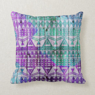Cool Watercolor Aztec Wood Plank Design Throw Pillows