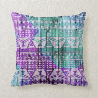 Cool Watercolor Aztec Wood Plank Design Cushions