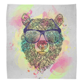 Cool watercolor bear with glasses design bandana