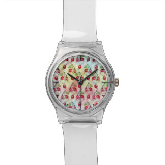 Cool watercolor cherries illustration pattern watch