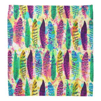 Cool watercolor neon splatters tribal feathers bandana