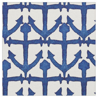 Cool Watercolor Painted Nautical Anchors Fabric
