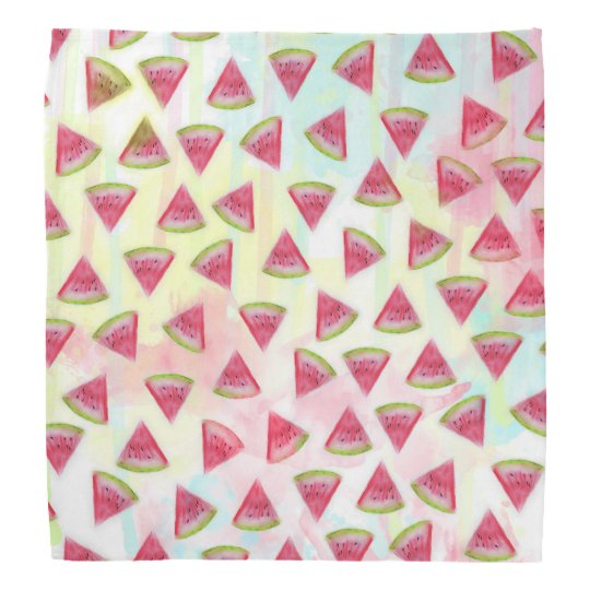 Cool watercolor watermelon slices illustration bandana