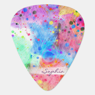 Cool watercolors peacock feathers abstract pattern plectrum
