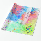 Cool watercolors peacock feathers abstract pattern wrapping paper