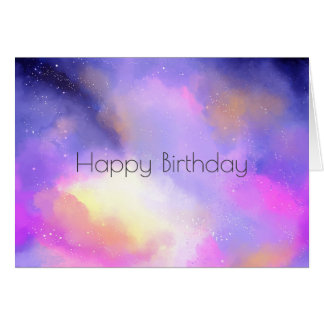 Cool Watercolors with Surreal Clouds Birthday Card