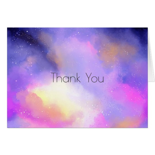 Cool Watercolors with Surreal Clouds Thank You Card