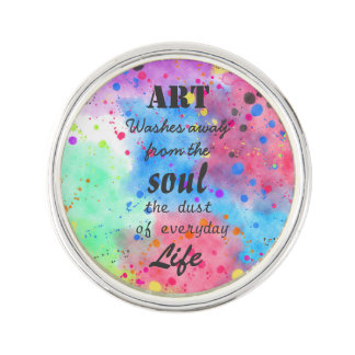 Cool watercolour famous quote lapel pin