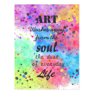 Cool watercolour famous quote postcard