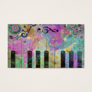 Cool watercolours splatters colourful piano