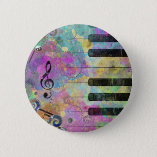 Cool watercolours splatters colourful piano 6 cm round badge