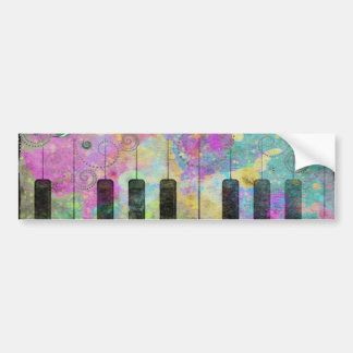 Cool watercolours splatters colourful piano bumper sticker