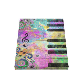 Cool watercolours splatters colourful piano canvas print
