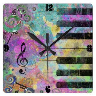 Cool watercolours splatters colourful piano clock