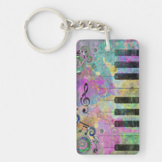 Cool watercolours splatters colourful piano key ring