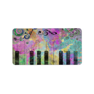 Cool watercolours splatters colourful piano label