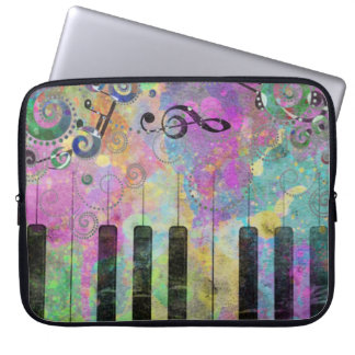 Cool watercolours splatters colourful piano laptop computer sleeves