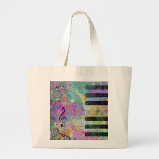Cool watercolours splatters colourful piano large tote bag