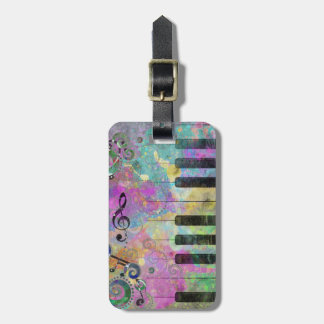 Cool watercolours splatters colourful piano luggage tag
