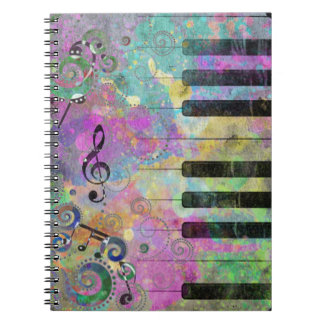 Cool watercolours splatters colourful piano notebook