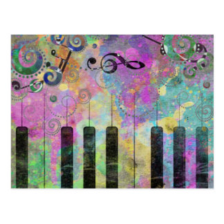 Cool watercolours splatters colourful piano postcard