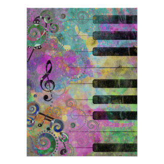 Cool watercolours splatters colourful piano poster