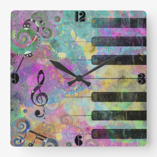 Cool watercolours splatters colourful piano square wall clock