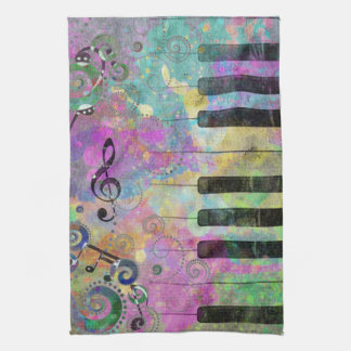 Cool watercolours splatters colourful piano tea towel