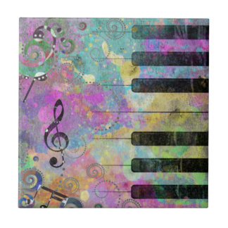 Cool watercolours splatters colourful piano tile