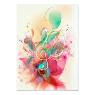 Cool watercolours treble clef music notes swirls 13 cm x 18 cm invitation card