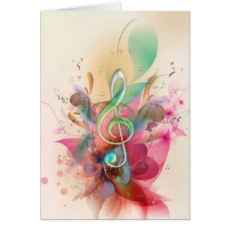 Cool watercolours treble clef music notes swirls greeting card