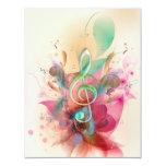 Cool watercolours treble clef music notes swirls custom invitation
