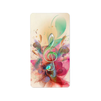 Cool watercolours treble clef music notes swirls label