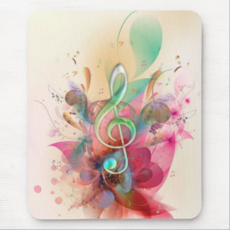Cool watercolours treble clef music notes swirls mouse mat
