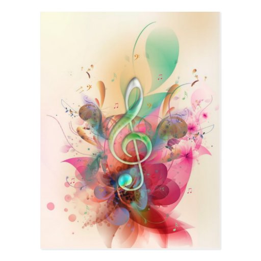 Cool watercolours treble clef music notes swirls postcard