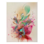 Cool watercolours treble clef music notes swirls poster