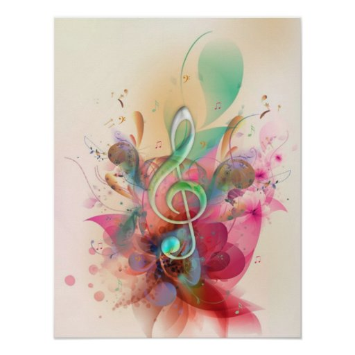 Cool watercolours treble clef music notes swirls print