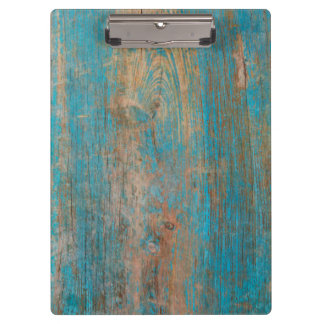 Cool Weathered Blue Peeling Paint Wood Texture Clipboard